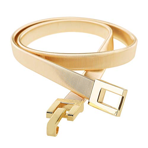 Tanpie Skinny Waist Belt of Women Elastic Metal Stretch Chain Belt Gold 29'' ()
