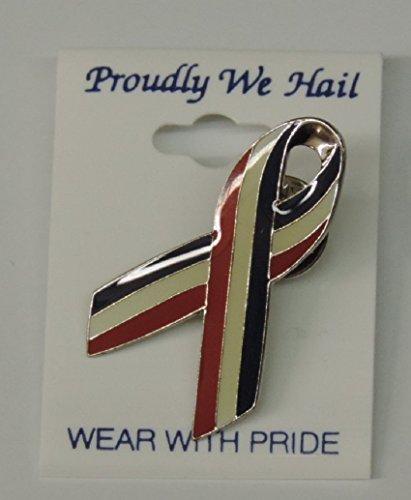 Patriotic Ribbon Pin (Red White & Blue Ribbon Pins - Proudly We Hail)