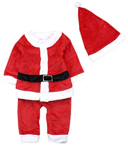 Baby Boys Xmas Santa Claus All-in-one Costume Romper Outfit + Hat, 2-pc (95/24-36 Months) ()