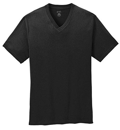100% Cotton V-neck T-shirt - Port & Company Men's 54 oz 100% Cotton V Neck T Shirt XL Jet Black