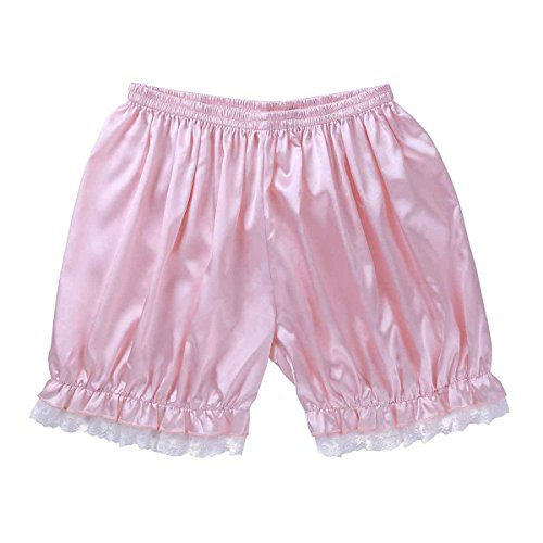 ACSUSS Men's Silk Satin Frilly Sissy Lingerie Underwear Loose Boxer Shorts Pink Large -
