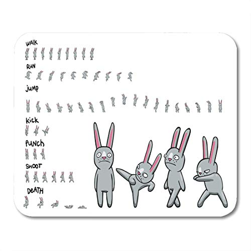 Boszina Mouse Pads Sequence Sprite Sheet of Cartoon Character Pack Actions Loop Animation Walk and Run for Game Animal Mouse Pad for notebooks,Desktop Computers mats 9.5