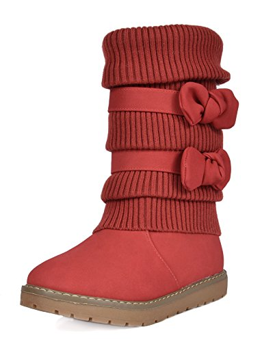 DREAM PAIRS Little Kid Klove Red Faux Fur Lined Mid Calf Win