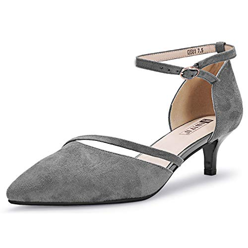IDIFU Women's IN2 Maxine Sequins Mid Kitten Heels Closed Pointed Toe D-Orsay Party Sandal Low Heels Bridal Pump Wedding Shoes (9 M US, Gray Suede)