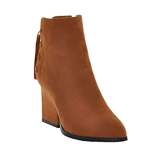 Latasa Womens Pointed Toe High Heels Ankle High Fall Boots Yellowish Brown