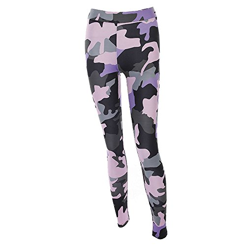 Women Camouflage Sports Yoga Workout Gym Fitness Exercise Athletic Pants (M, Pink) (Jade Pink Yoga Mat)