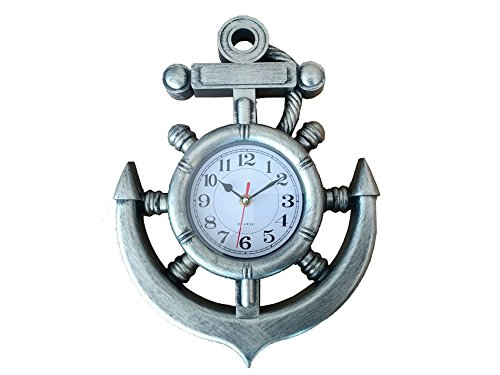 "Silver Ship Wheel and Anchor Wall Clock 15"" - Marine Clock - Nautical Decor"