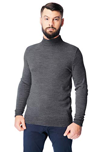 Men's Merino Wool Mock Turtleneck Sweater Classic Midweight Long Sleeve Pullover (Grey, X-Large)
