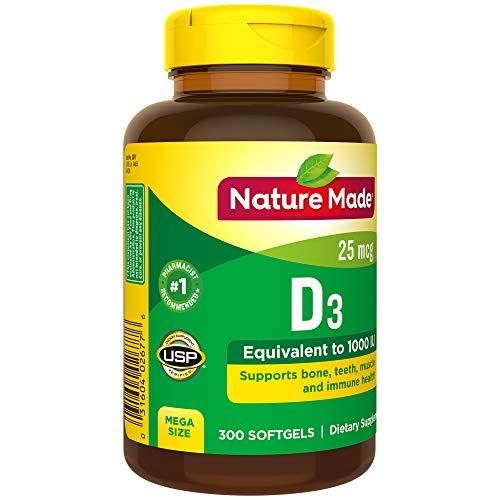 Nature Made Vitamin D3 25 mcg (1000 IU) Softgels 300 Ct Mega Size (Packaging may vary)