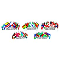 """100 World Flag SET-100 Polyester 4""""x6"""" Flags, One Flag for 100 Popular International Olympic and World Cup Countries Flag Centerpiece, 4x6 Miniature Desk & Table Flags, Small Mini Stick Flags"""