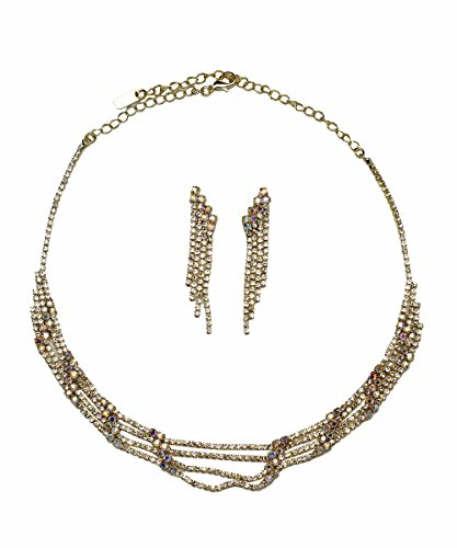 DK FASHION Rhinestone Vintage Simple Necklace Earring Jewelry Set For Womens Girls (Gold/AB) ()