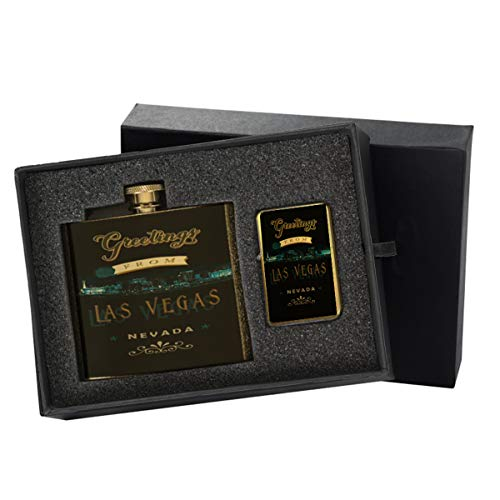 Las Vegas Night Greetings - New Vibe Gold Flip-Top Windproof Refillable Pocket Lighter & Gold Pocket Hip Flask Gift ()