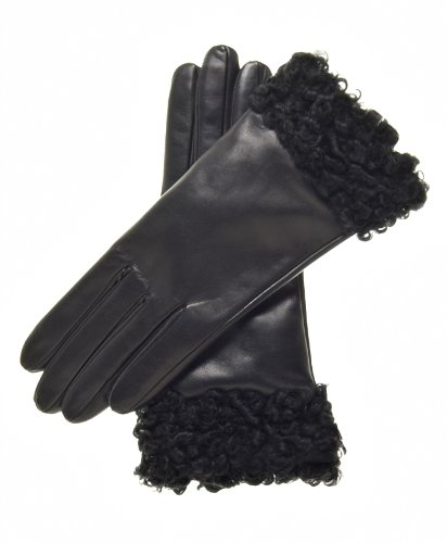 Fratelli Orsini Women's Cashmere Lined Leather Gloves with Persian Lamb Cuffs Size 7 Color Black by Fratelli Orsini