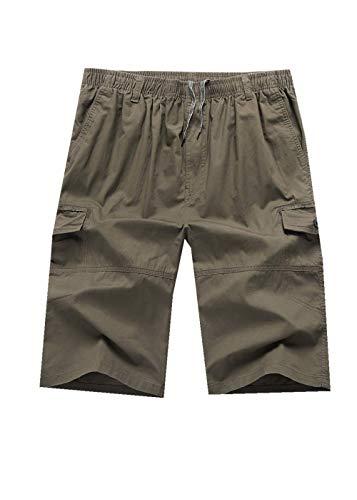 Khaki Short Pleated Washed - Giulot Men's Big-Tall Comfort-Waist Pleated Short Washed Twill Short Champion Script Warm Up Drawstring Short Khaki