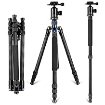 Neewer Carbon Fiber 66.5 inches/169 centimeters Camera Tripod Monopod with 360 Degree Ball Head,1/4 inch Quick Release Plate,Bubble Level and Carry Bag, Load Capacity 26.5 pounds/12 kilograms (Blue)