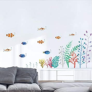 Xqwzm Multicolor Fisch Unterwasserpflanzen Wandaufkleber
