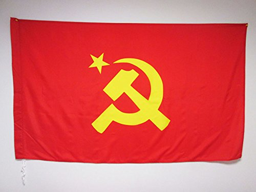 AZ FLAG USSR Central Logo Flag 3' x 5' for a Pole - Red Communist Flags 90 x 150 cm - Banner 3x5 ft with Hole