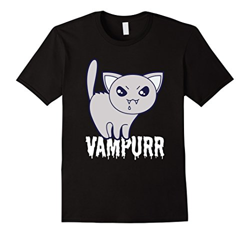 Men's Vampurr Cat Vampire T-Shirt - Funny Sacry Evil Kitty Tee XL Black (Cute Brother And Sister Costumes Halloween)