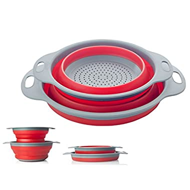 Colander Set - 2 Collapsible Colanders (Strainers) Set By Comfify - Includes 2 Folding Silicone Strainers Sizes 8  - 2 Quart and 9.5  - 3 Quart Red and Grey