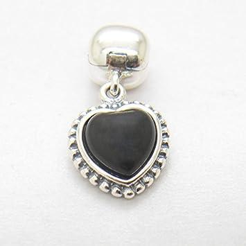 2343e0fa92dba Fashion charms fit pandora bracelet Mi Amor Black Onyx Heart Clip ...