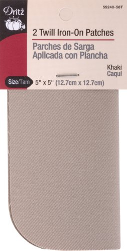 (Dritz 55240-58T Patches, Iron-On, Twill, Khaki, 5 x 5-Inch (2-Count))