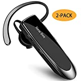 【2 Pack】Bluetooth Earpiece Wireless Handsfree Headset New Bee 24 Hrs Driving Headset 60 Days Standby Time With Noise Cancelling Mic Headset Case for iPhone Android Samsung Laptop Truck Driver (2Pack)