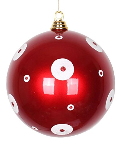 Vickerman Candy Apple Red with White Glitter Polka Dots Christmas Ball Ornaments 8'' (200mm) by Vickerman