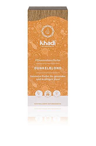 khadi Pflanzenhaarfarbe Dunkelblond 100g I Haarfarbe Blond ohne Rotanteile I Naturhaarfarbe 100% natürlich und vegan