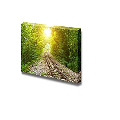 With Expert Quality, Magnificent Piece of Art, Railway Track Crossing Rural Landscape Under Evening Sunset Sky