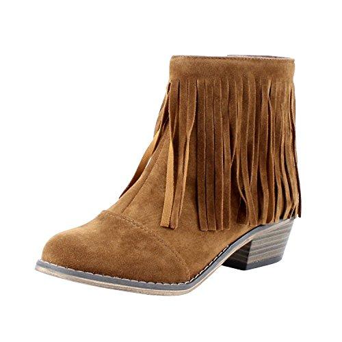 Breckelles Women Suede Fringe Cap Toe Ankle Booties, Tan - 5.5 B(M) US