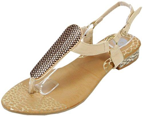 Slanna - edle Sandale mit goldenen Metall-Applikationen Zehentrenner LederOptik Damen Sommer Schuhe 36 37 38 39 40 41 Goldene Platte - Beige