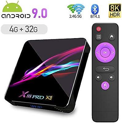 X88 PRO X3 Android 9.0 TV Box,4GB RAM 32GB ROM S905X3 Quad Core 64bit Cortex-A55 Support 2.4/5.0GHz Dual Band WiFi BT4.1 3D 8K Ultra HD H.265 10/100/1000M Ethernet HDMI2.1 Smart TV Box: