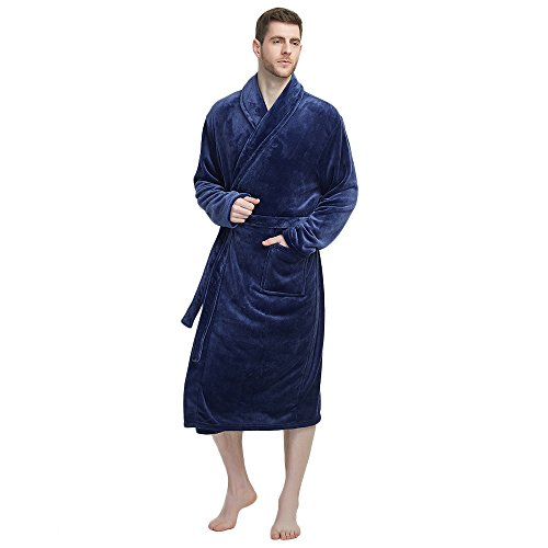 U2SKIIN Mens Fleece Robe Plush Collar Shawl Bathrobe(Navy,S/M) (Men Funny Bathrobe)