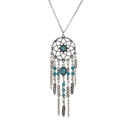 Inkach Womens Retro Turquoise Feather Pendant Long Sweater Chain Pendand Necklace (Diamond Womens Sweater)