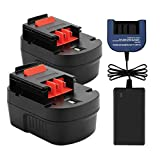 Exmate 2 Pack 12V 3.5Ah Ni-MH Replacement Battery with 1.2V-18V Multivolt Charger for Black and Decker HPB12 FSB12 FS120B FS120BX A12 A12-XJ A12EX A1712