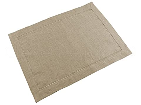 6 Pack - CleverDelights Natural Linen Hemstitched Placemats - 14
