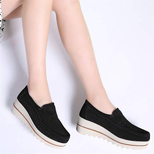Shoes Sneakers B Scarpe camoscio Autunno Nero Donne Pelle Femal Flats Casual 71pqqHxfw