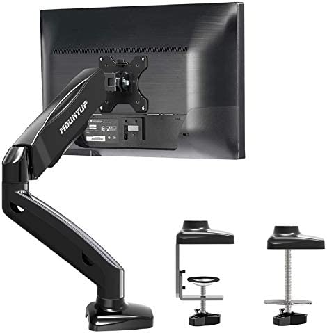 MOUNTUP Single Monitor Desk Mount - Adjustable Gas Spring Monitor Arm, VESA Mount with C Clamp, Grommet Mounting Base, Computer Monitor Stand for Screen as much as 32 inch, MU0004