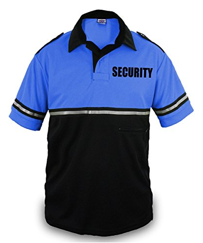 Two Tone Security Bike Patrol Shirt With Reflective Stripes and Zipper Pocket (Royal Blue and Black) (Two Tone Stripe Shirt)