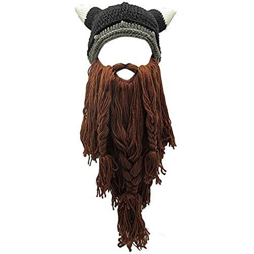 Creative Original Barbarian Knit Hair Beard Hat and Roman Knight Helmet Visor Cosplay Knit Beanie Hat (V-Brown)