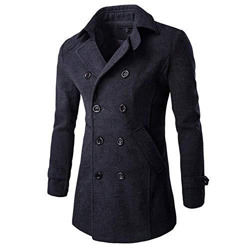 Sleeve Stylish Men's Outdoor Apparel Coat Tief Jacket Coat Breasted Woolen Grau Casual Classic Knit Long Double Lapel 7qwrpqd