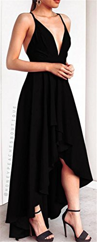 Cromoncent Strap Spaghetti Dresses Swing V Pleated Irregular Neck Sexy Black Womens rqt0Er