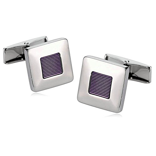 Aooaz Cufflinks For Men Stainless Steel Cufflinks Square Center Lines Silver Purple With Gift Box