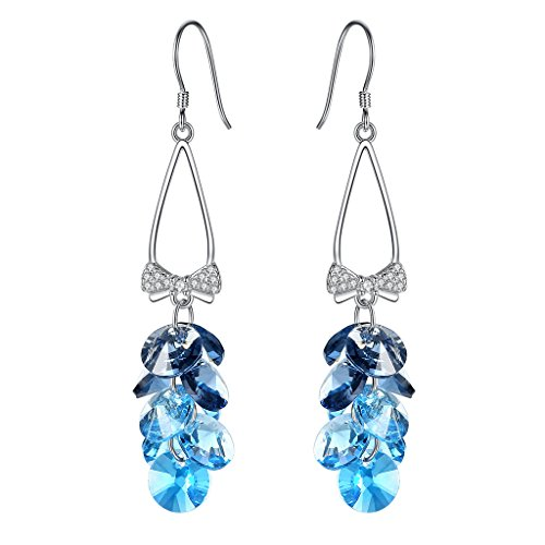 EleQueen 925 Sterling Silver CZ Bowknot Cluster Bead Hook Long Drop Earrings Blue Adorned with Swarovski (Long Cluster Earrings)