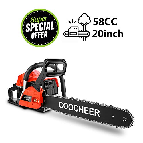 Yiilove COOCHEER 20″ 58CC Gas Powered Chainsaw 2 Stroke Handed Petrol Gasoline Chain Saw for Cutting Wood with Tool Kit (58CC-Red)
