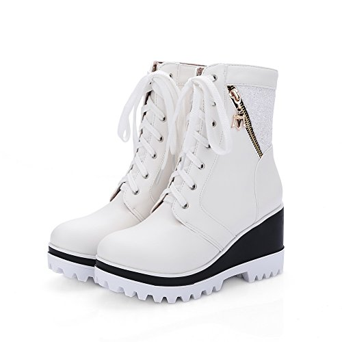 Matching Color White Bottom Heel Boots Leather Platform BalaMasa Thick Imitated Womens qEw54vO