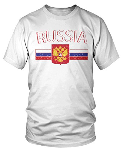 f4785acda Amdesco Men's Russian Flag and Russia Eagle Crest T-Shirt, White Small