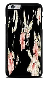 Vintage Pink and White flowers on Black Background Black Hardshell Case for iPhone 6+ (5.5)