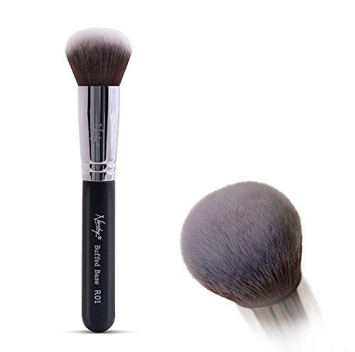 (Nanshy Round Buffer Kabuki Makeup Brush - Blending and Application of Mineral Powder - Onyx Black)