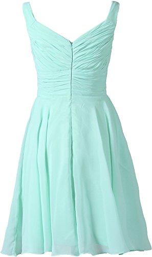Short Dresses V Gown Neck Women's Bridesmaid ANTS Prom Chiffon Cyan xYXqBw5